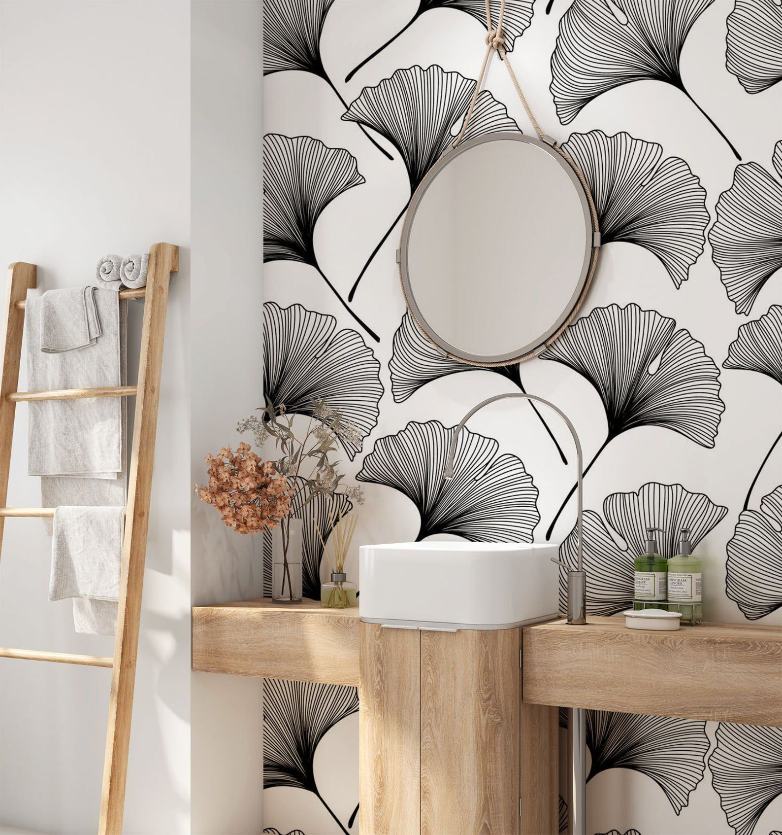 Tropical Removable Wallpaper Minimalist Leaves Wallpaper Etsy