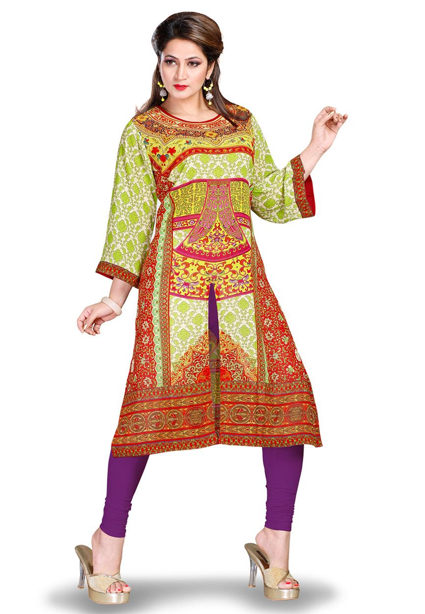Buy green and red faux georgette readymade long kurta online work