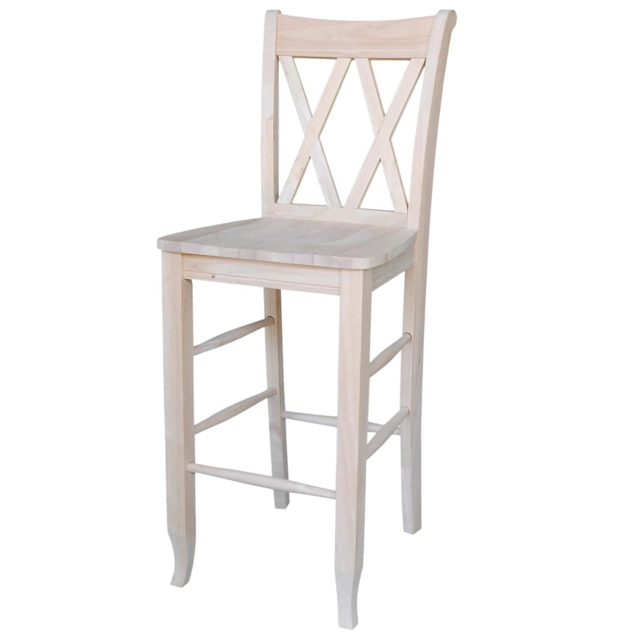 Outstanding Contemporary White Wood 30 Inch Double X Back Bar Stool With Gmtry Best Dining Table And Chair Ideas Images Gmtryco