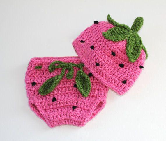 Aliexpress.com: Comprar Mano Crochet fresa Baby Girl sombreros ...