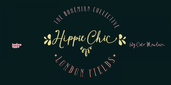 The Boho fonts are based on typefaces with a touch of hippie chic created by Guisela Mendoza.