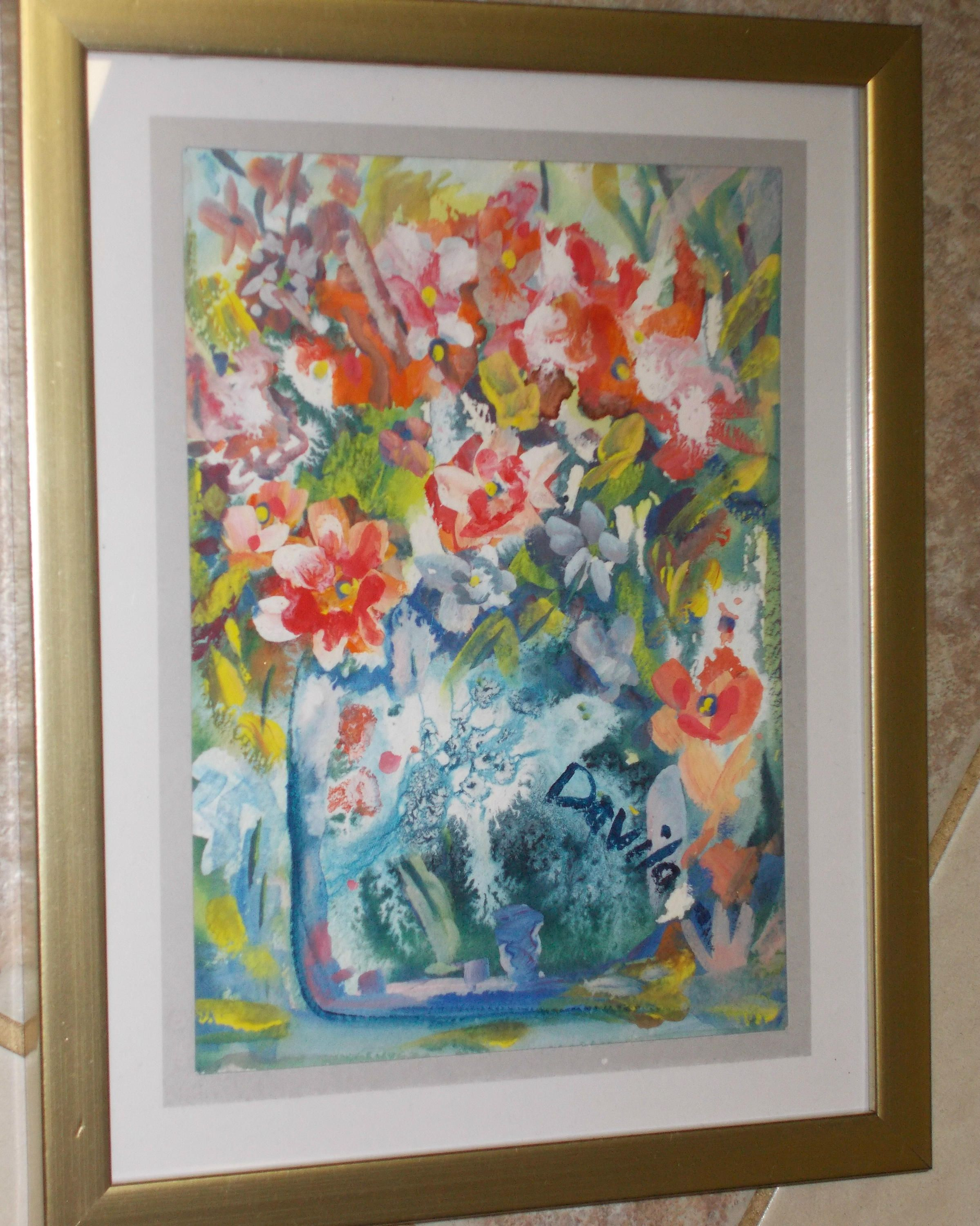 Original Red Robin Floral watercolor painting hand painted by Texas ...