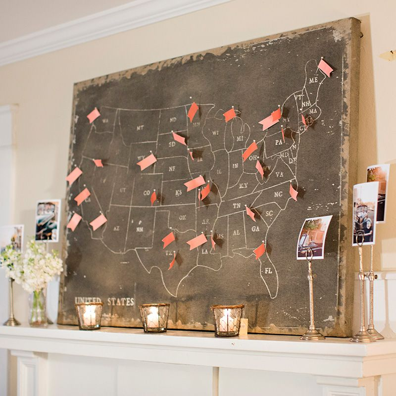 Our US map canvas is an ideal display piece for escort cards and