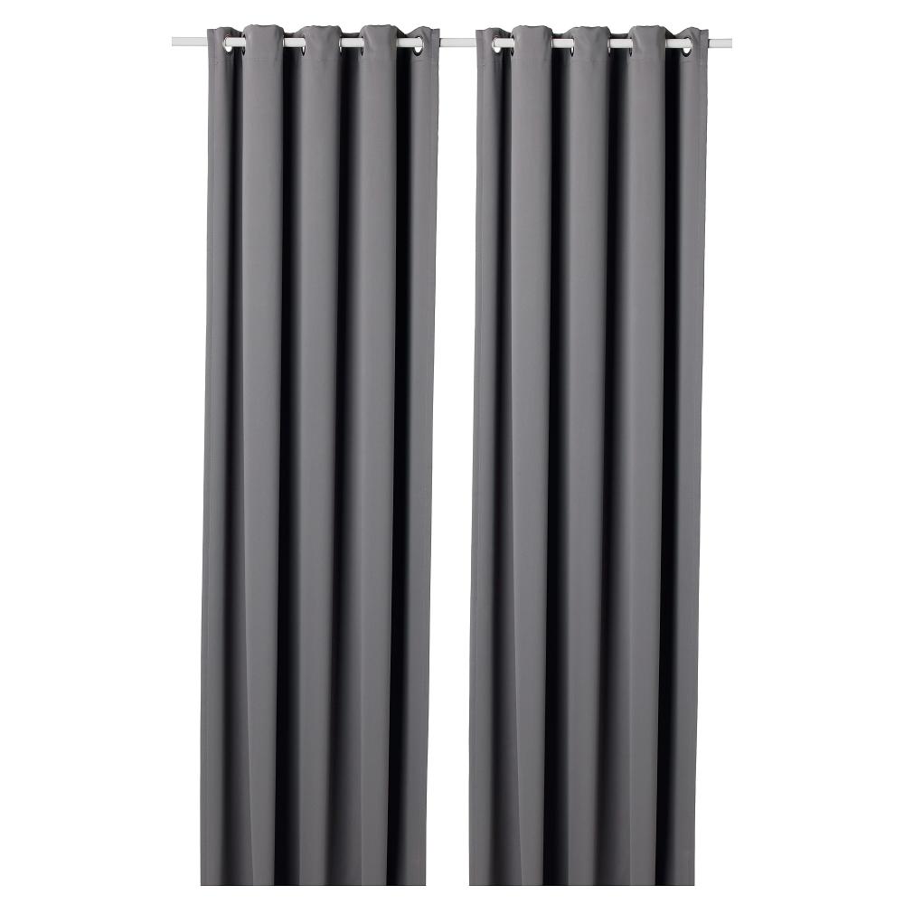 Hilleborg Blackout Curtains 1 Pair Gray 57x98 145x250 Cm Ikea Block Out Curtains Curtain Rods Blackout Curtains