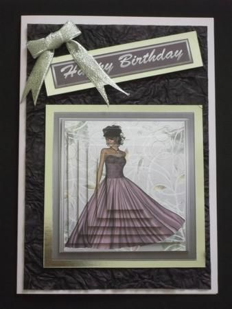 Lady in Mauve Pyramid on Craftsuprint designed by Rhonda Brittain - made by Margaret Gordon - A quite stunning card - a lilac A5 card with a matching insert and a mat of rich, hand made, purple paper. A decoupaged main image set onto a silver mirror board mat with a sentiment added with foam pads and a little silver bow. - Now available for download!