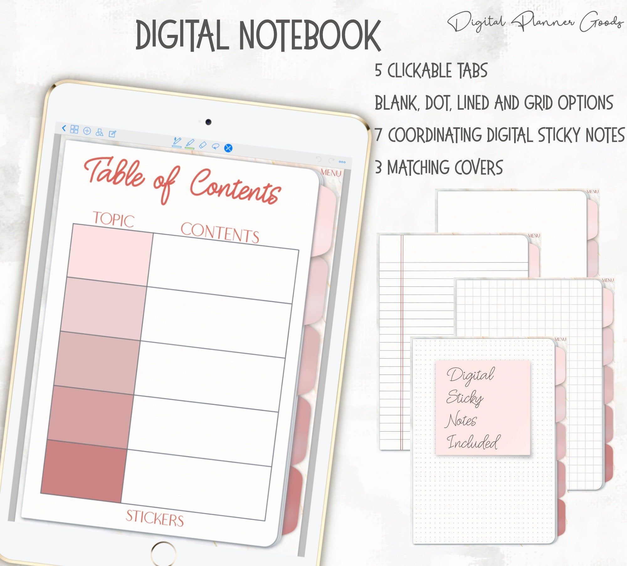Digital Pink Notebook For Good Notes School Notes Good Notes Digital Notebooks