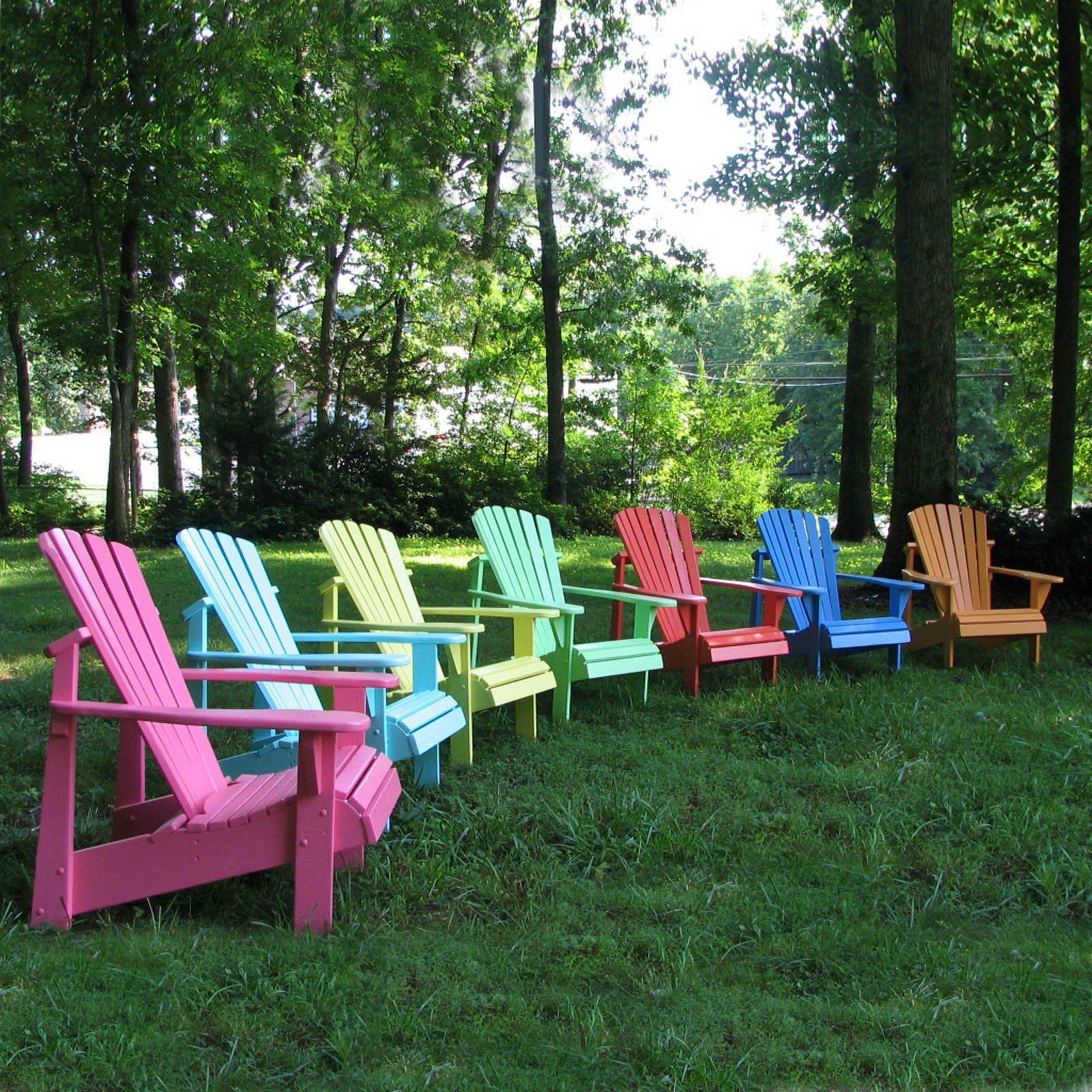 Rainbow of Adirondack chairs From hayneedle Designer s Choice