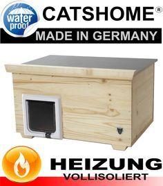 Luxus Katzenhaus DESIGN Voll Isoliert Outdoor Mit Katzenklappe Und Heizung