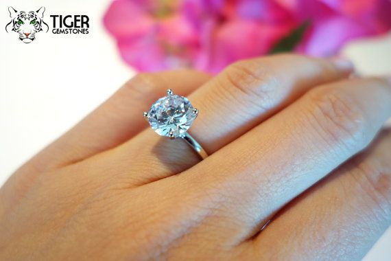 38a741f8a2377 3 ct Classic Solitaire Engagement Ring, Man Made Diamond Simulant, 4 ...