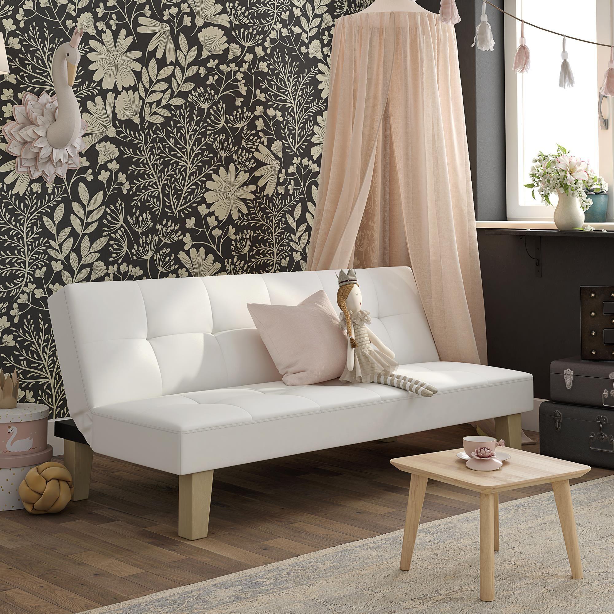 Aria Futon Sofa Bed White Walmart Com In 2020 Futon Living Room White Sofa Bed Sofa Bed