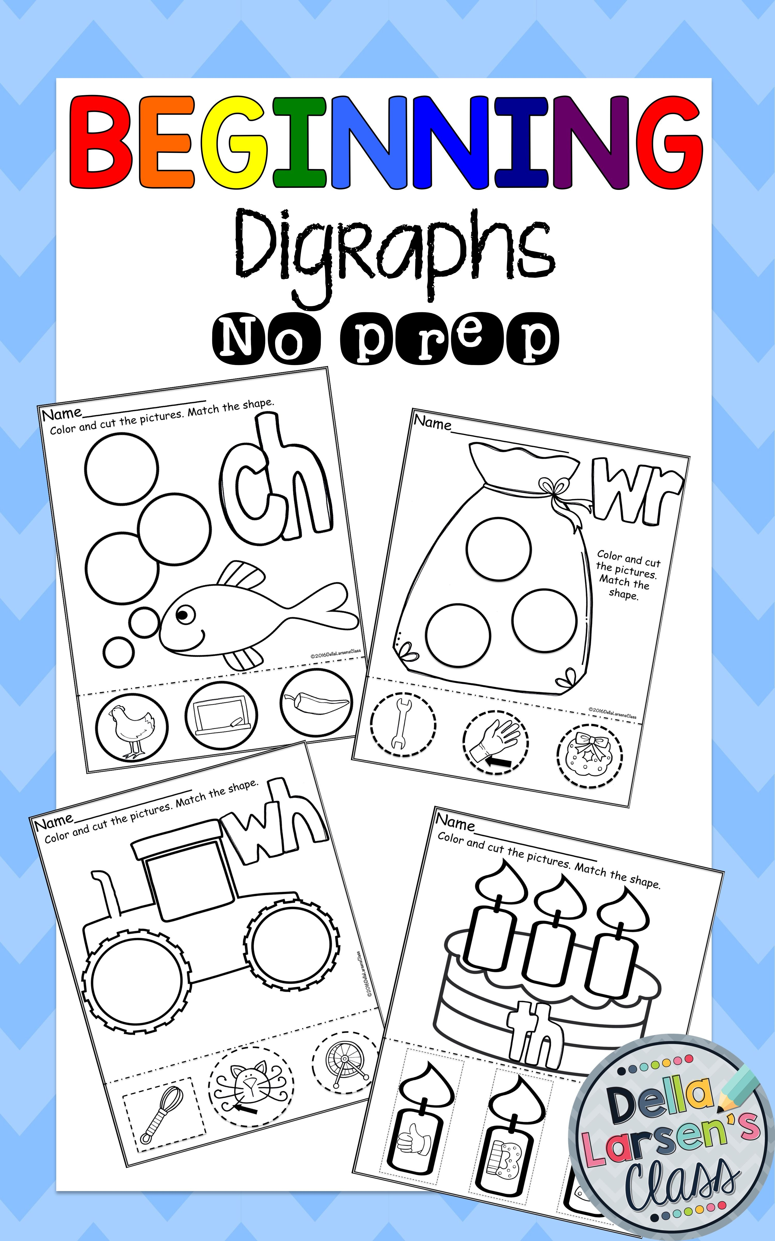 Beginning Digraphs No Prep Worksheets