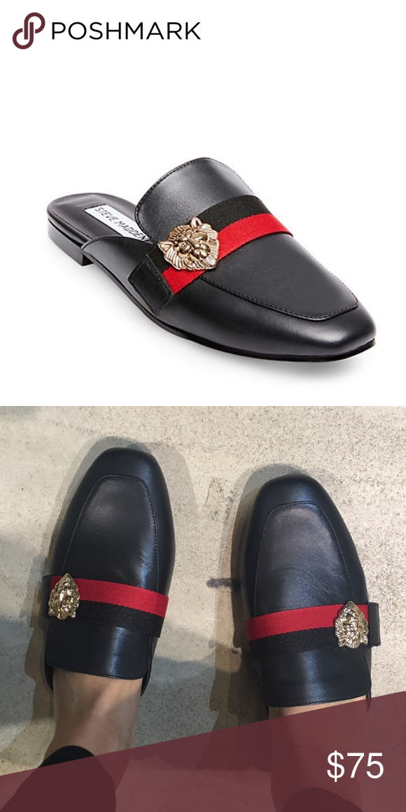 38d3d7abfa1 Steve Madden black red stripe mule slippers 8.5 Steve Madden Karisma. Worn  5 times max ! Almost new condition. Makes the perfect slipper to run out in!