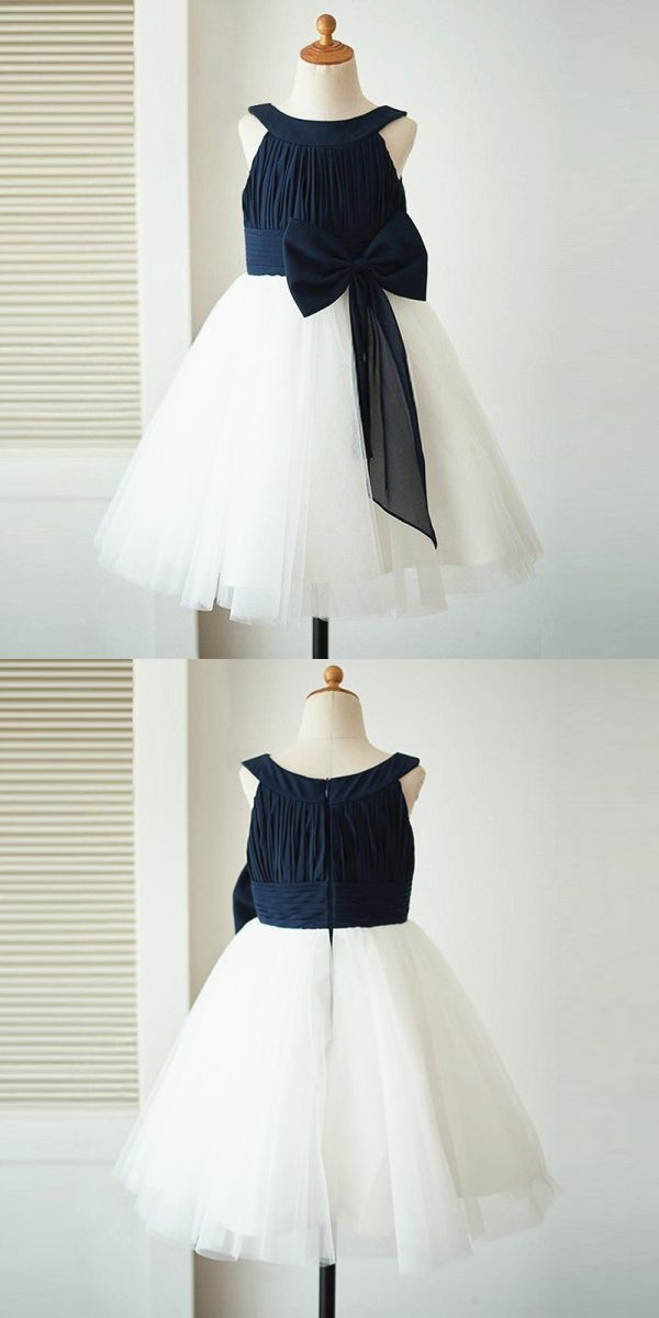 e0d85f1c3 cute white flower girl dresses, country little girl dress with bow, rustic  flower girl dress with navy top