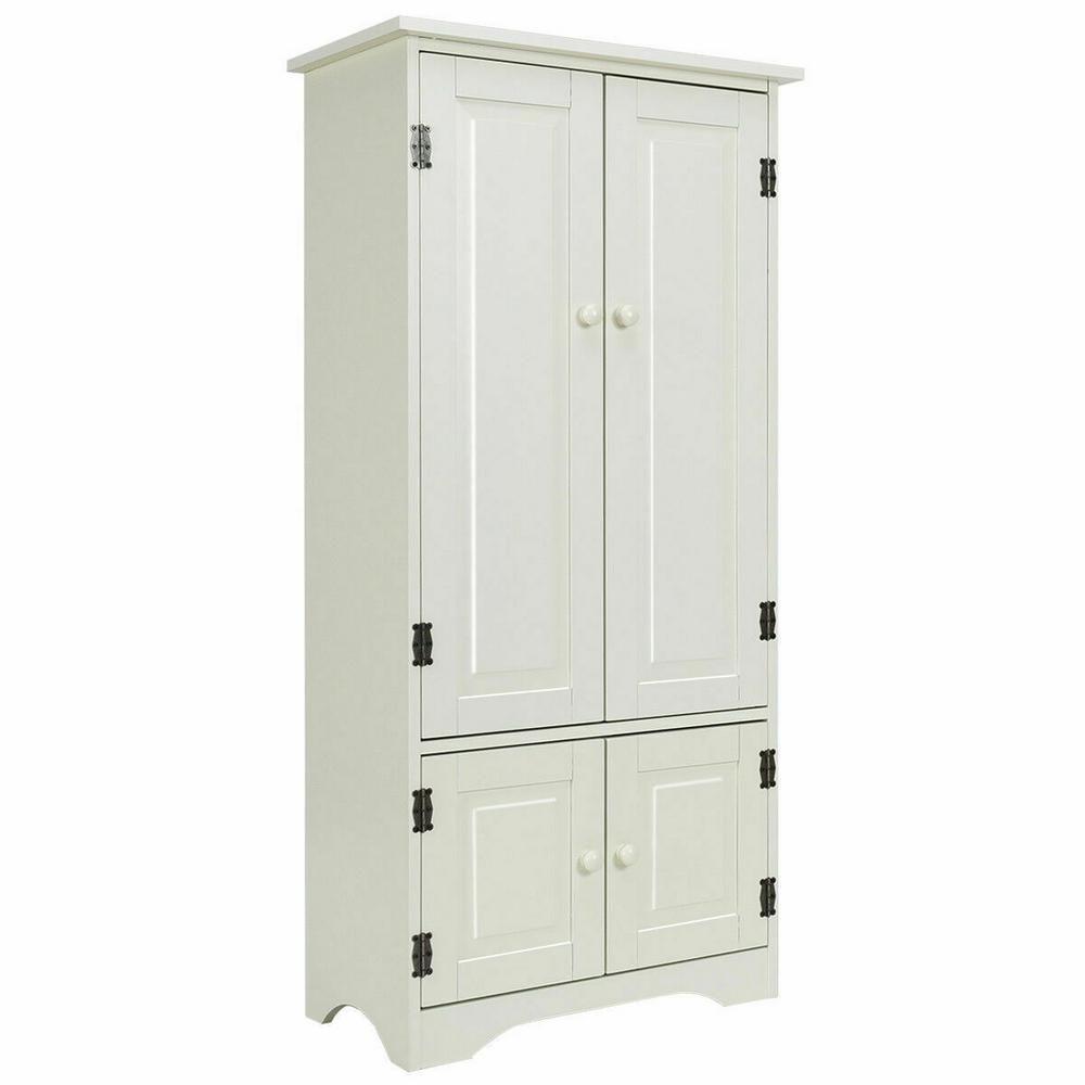 Costway Accent White Storage Cabinet Adjustable Shelves Antique 2 Door Floor Cabinet Hw56627w In 2020 Accent Storage Cabinet White Storage Cabinets Adjustable Shelving