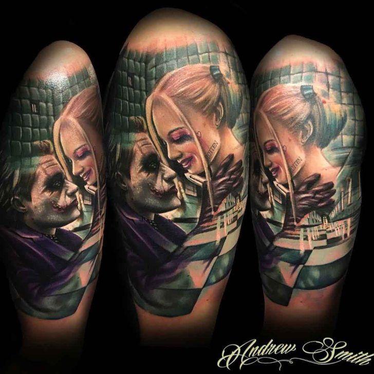 shoulder tattoo harley and joker