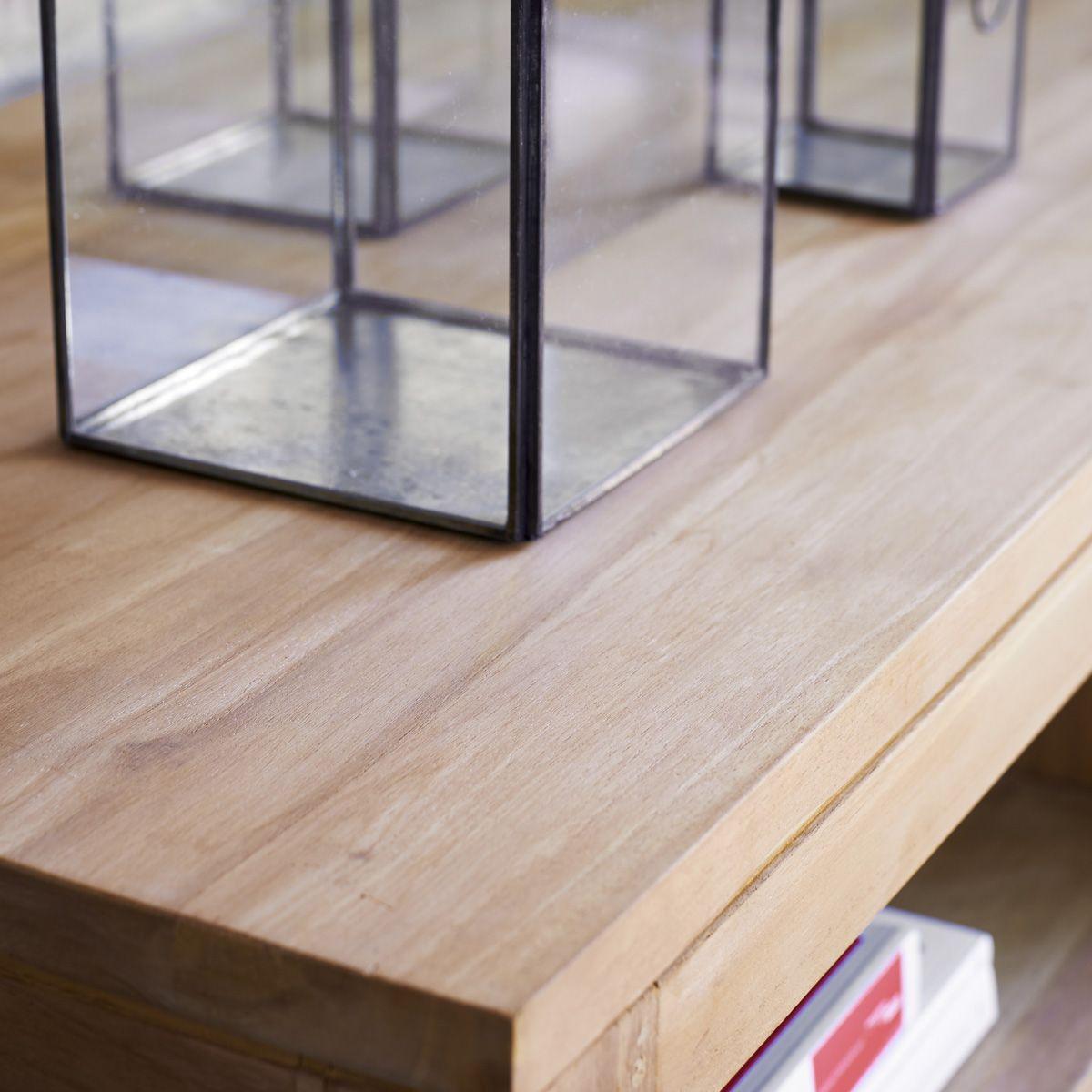 Meuble Pour Tv Plasma Table T L En Teck Naturel Tikamoon  # Table Pour Tv