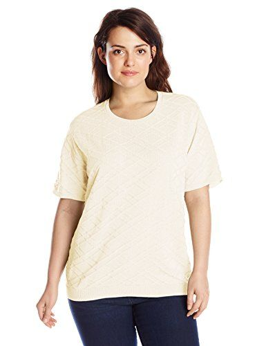 Alfred Dunner Women's Plus-Size Short Sleeve Sweater Shell, Ivory, 1X * For more information, visit image link. Amazon Affiliate Program's Ads.