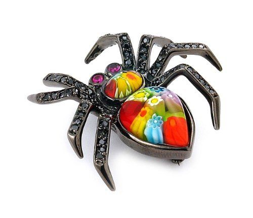 Sterling Silver Millefiori Multi Color Black Rhodium Plated Spider With CZ Animal Brooch Pin West Coast Jewelry. $118.95