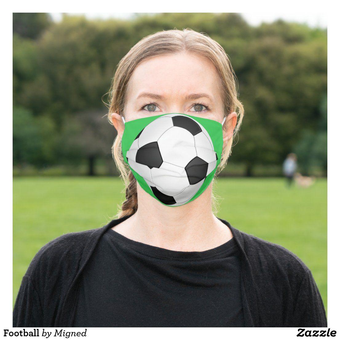 Football Cloth Face Mask Zazzle Com In 2020 Soccer Ball Soccer Face Mask