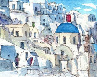 Art De Sifnos Island 3 Imprimez A Partir D Une Aquarelle Originale