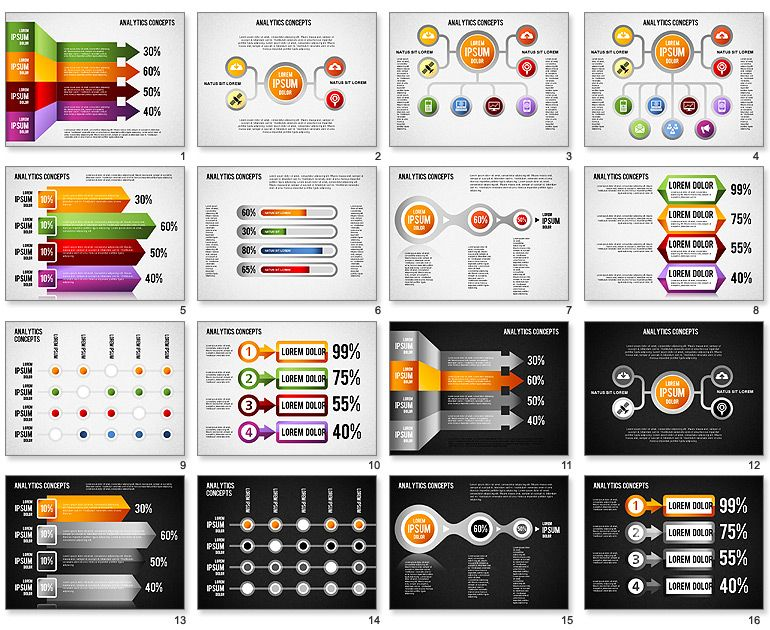 analytics concepts charts for powerpoint | diagrams and charts, Presentation templates