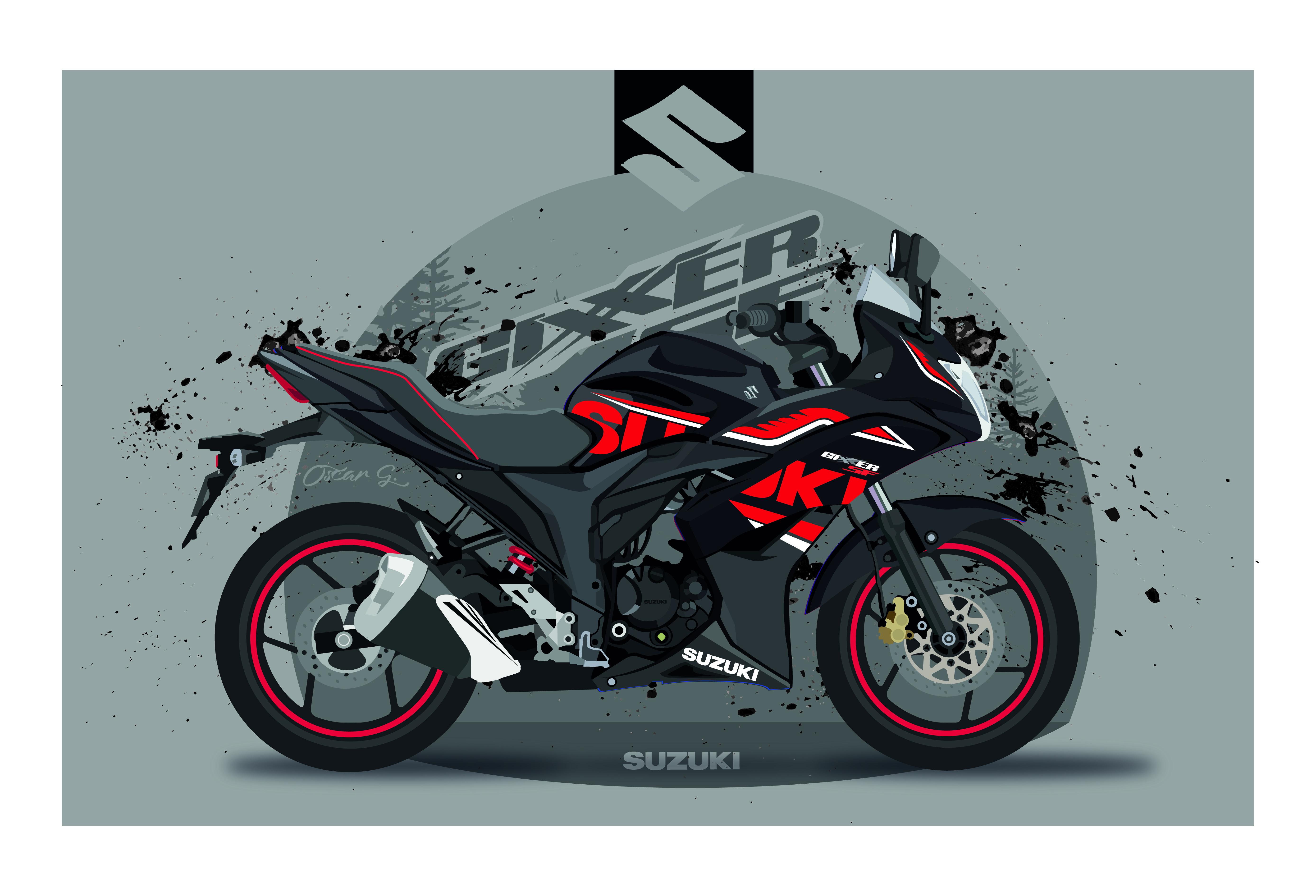Ilustracion Suzuki Gixxer Sf En 2020 Suzuki Motos Suzuki Gixxer