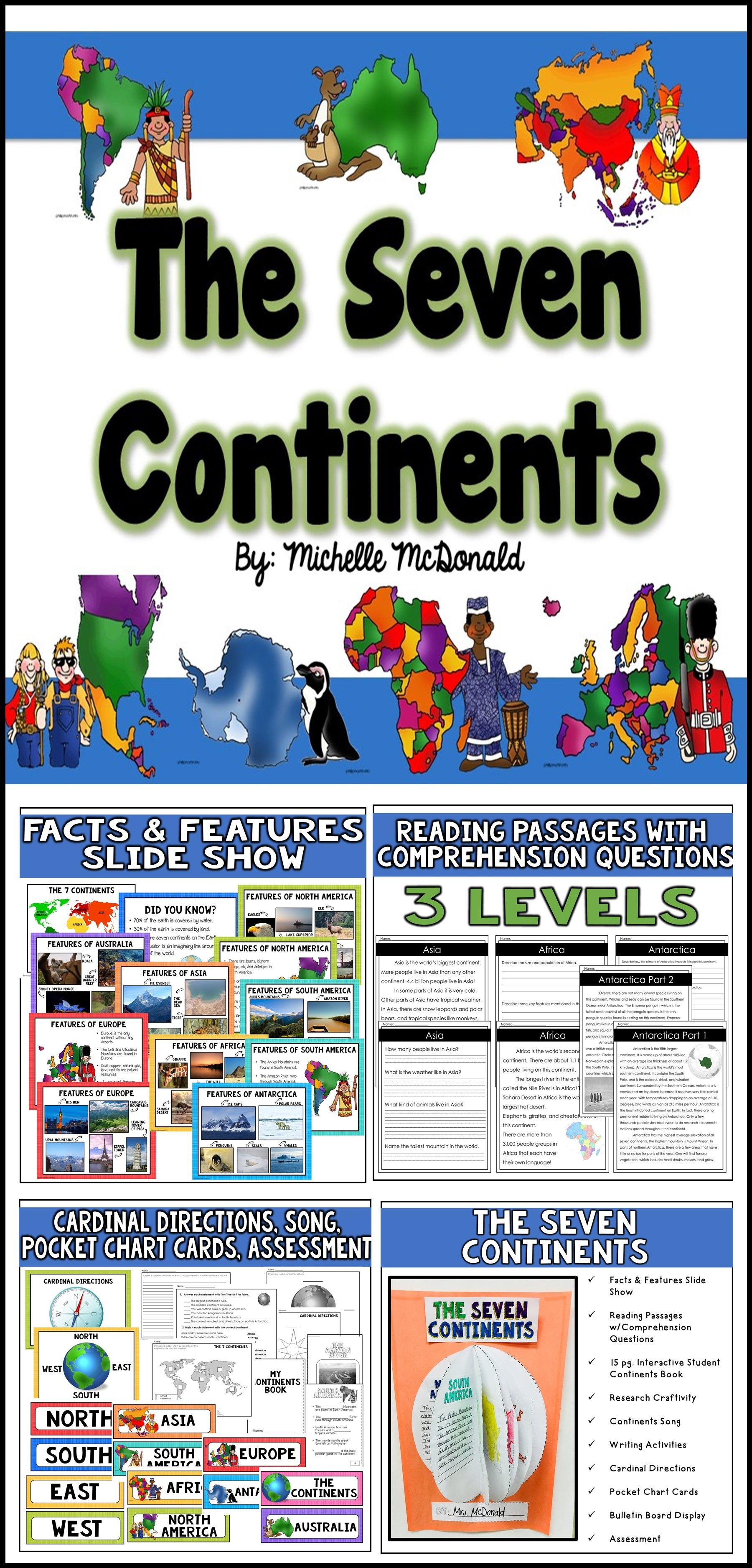 The Seven Continents Amp Five Oceans Reading Passages Slide Shows Craft Amp More