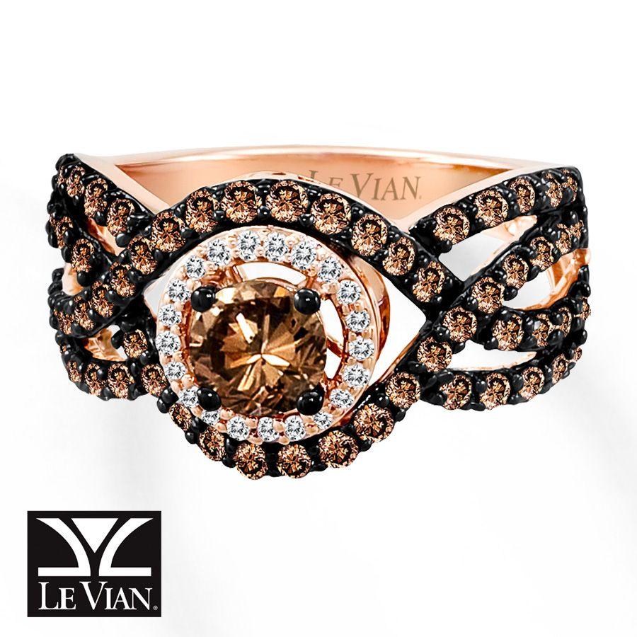 jared levian chocolate diamonds 1 12 cts tw ring 14k strawberry - Chocolate Diamonds Wedding Rings