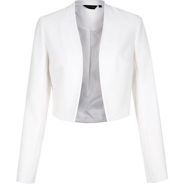 White Collarless Crop Blazer ($38) ❤ liked on Polyvore featuring ...