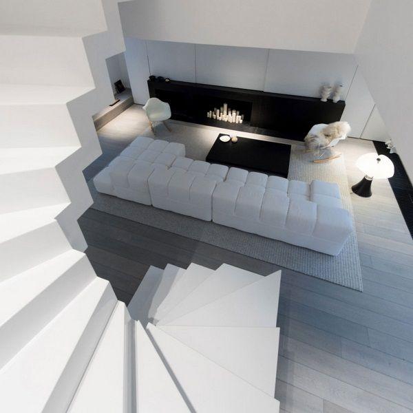 Schwarz einzurichten Flachdachwendeltreppe Wohnzimmer Schlafteppichboden grau
