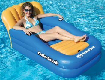 Marvelous Inflatable Pool Lounger With Large Covered Cooler!