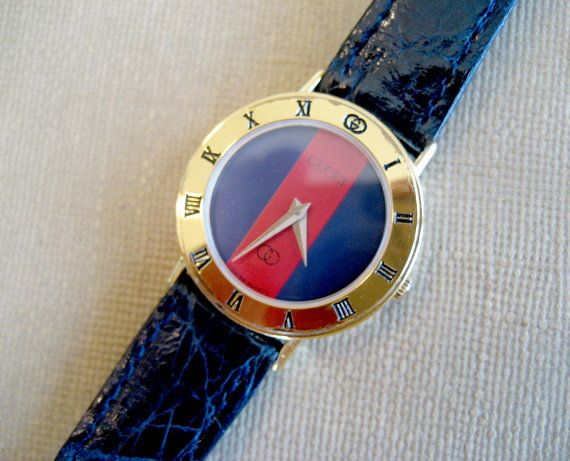 a84ad7d15f0 Rare Vintage Gucci Blue Watch - Red and Blue Vintage Gucci Watch - Retro Gucci  Ladies Wristwatch on Etsy