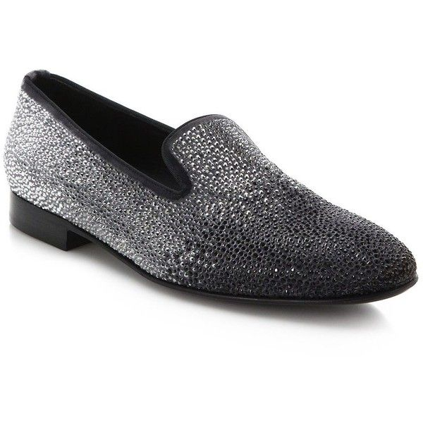 Louis Leeman Swarovski Crystal-Embellished Velvet Smoking Slippers :...  ($1,650)