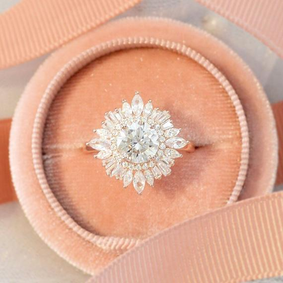 Photo of Vintage art deco 14k rose gold engagement ring, Halo baguette natural diamond with center round cut moissanite, Anniversary gift for her