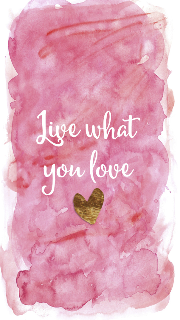 Pink Watercolour Gold Heart Live Love Iphone Wallpaper Phone
