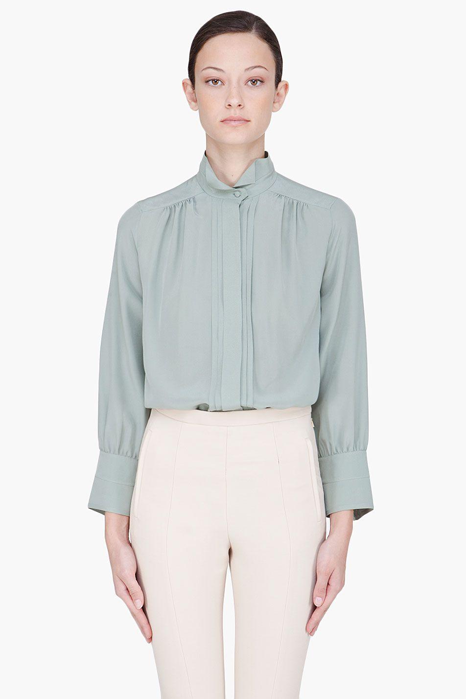 d40d4e9385519 CHLOE Seafoam Green Silk Blouse