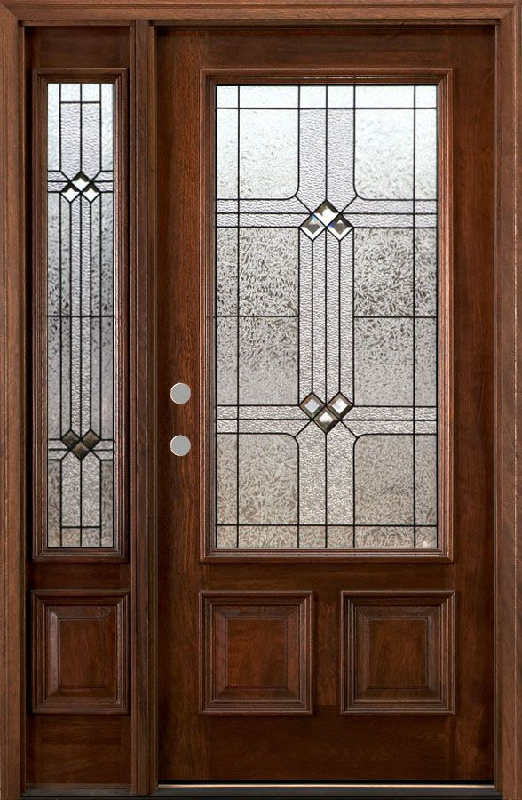 front door with sidelights | ... Doors with One Sidelite - Solid Mahogany Doors - Wood Doors 6' 8