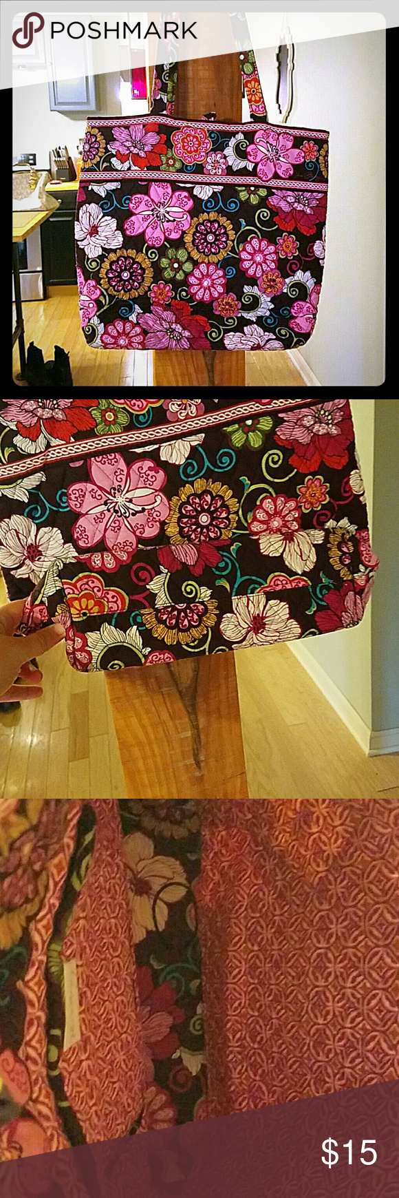 Mod Floral pink vera bradley Pink vera bradley. Used. No major stains, just needs to be washed. No holes.  I am open to offers. I am open to trades. Vera Bradley Bags