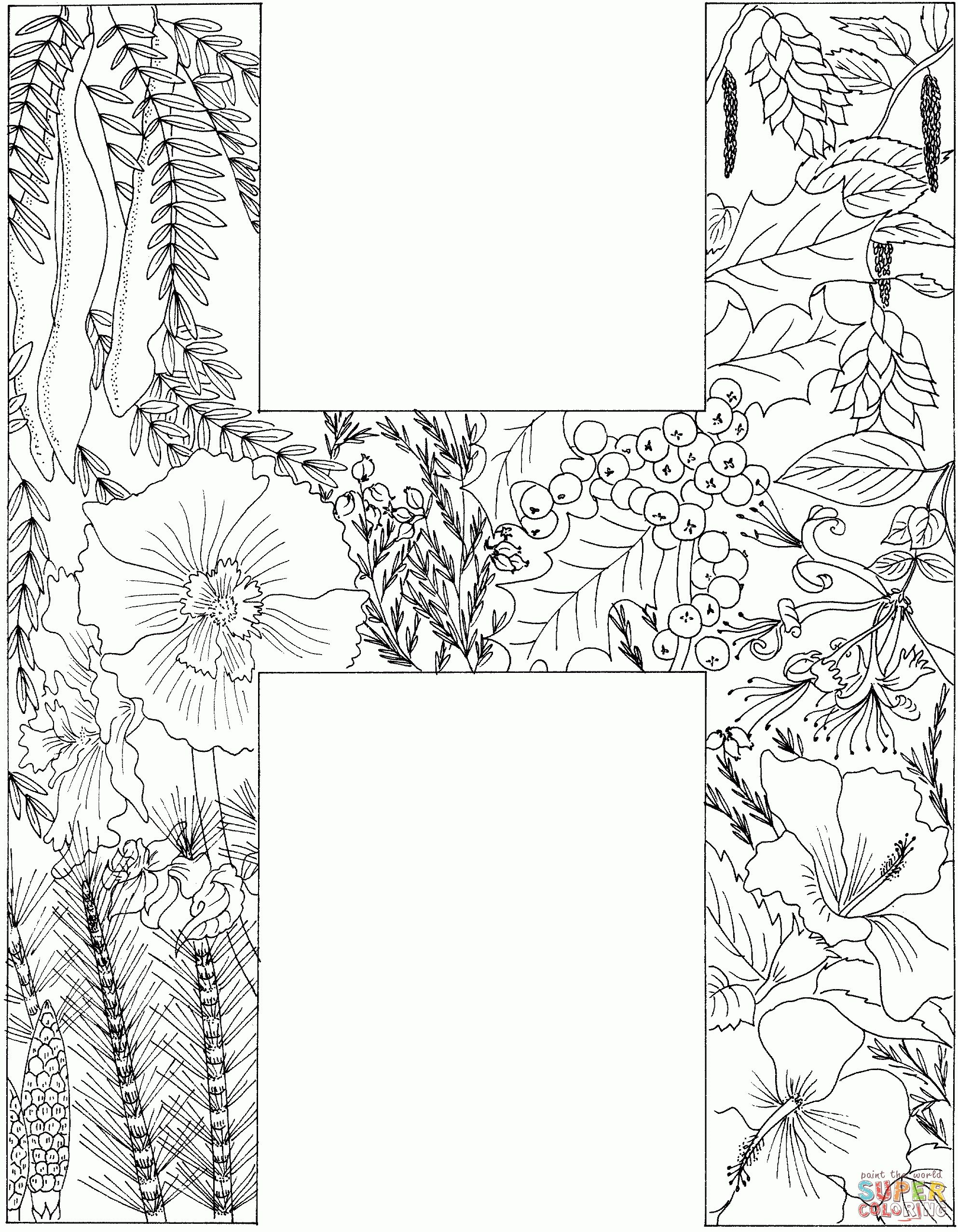 Letter H Coloring Pages For Adults Alphabet Coloring Pages