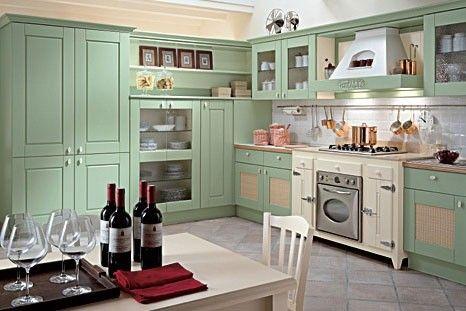 Cicine verde acqua Pensili cucina, Cucine rustiche e Cucine