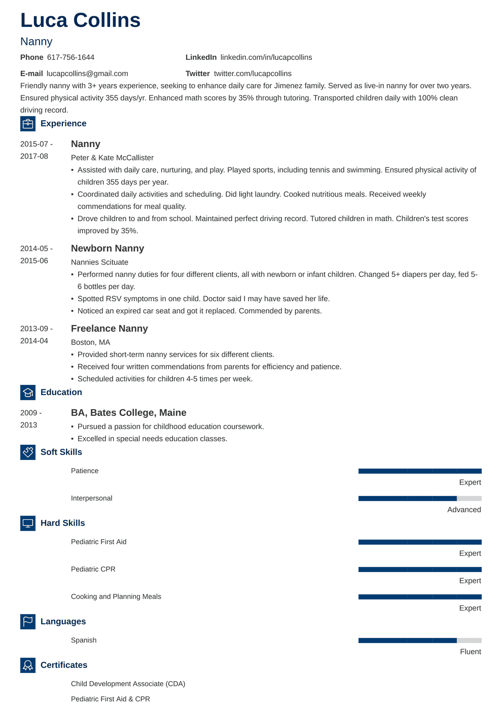 Live In Nanny Resume in 2020 Job resume examples, Resume