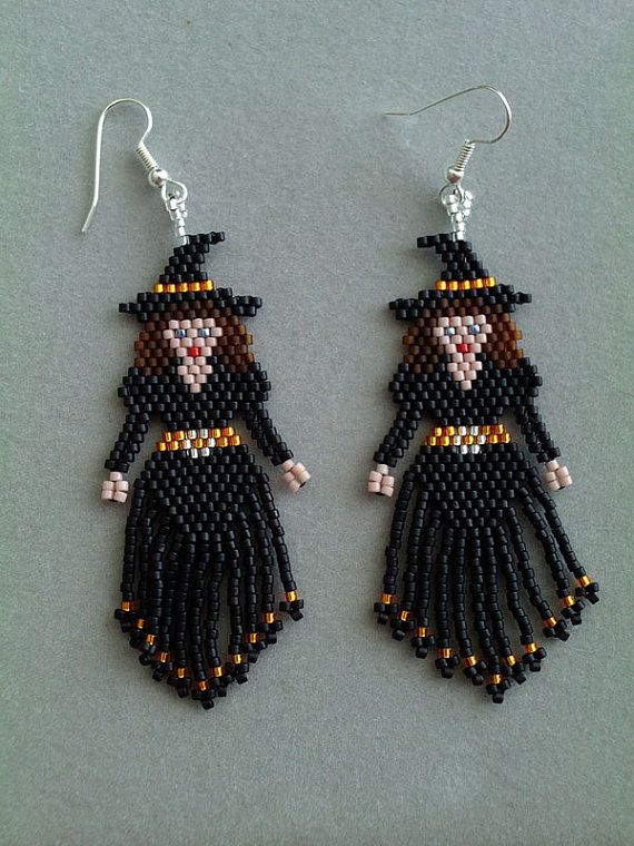 Pretty Witch Halloween Beaded Earrings | Perlen, Stehen und Hexen
