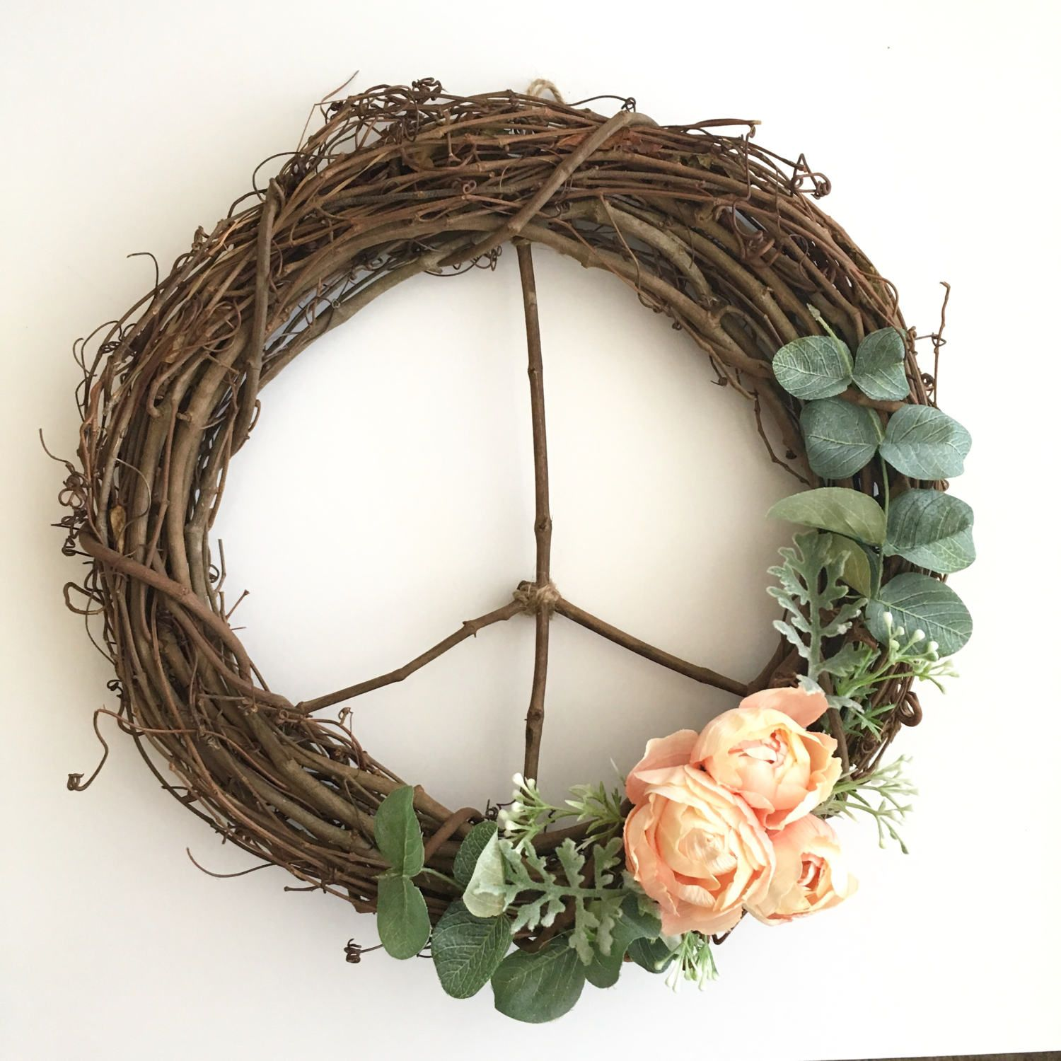 Peace Sign Bedroom Accessories: Peace Sign Wreath/ 12 Inch Wreath/ Modern Wreath