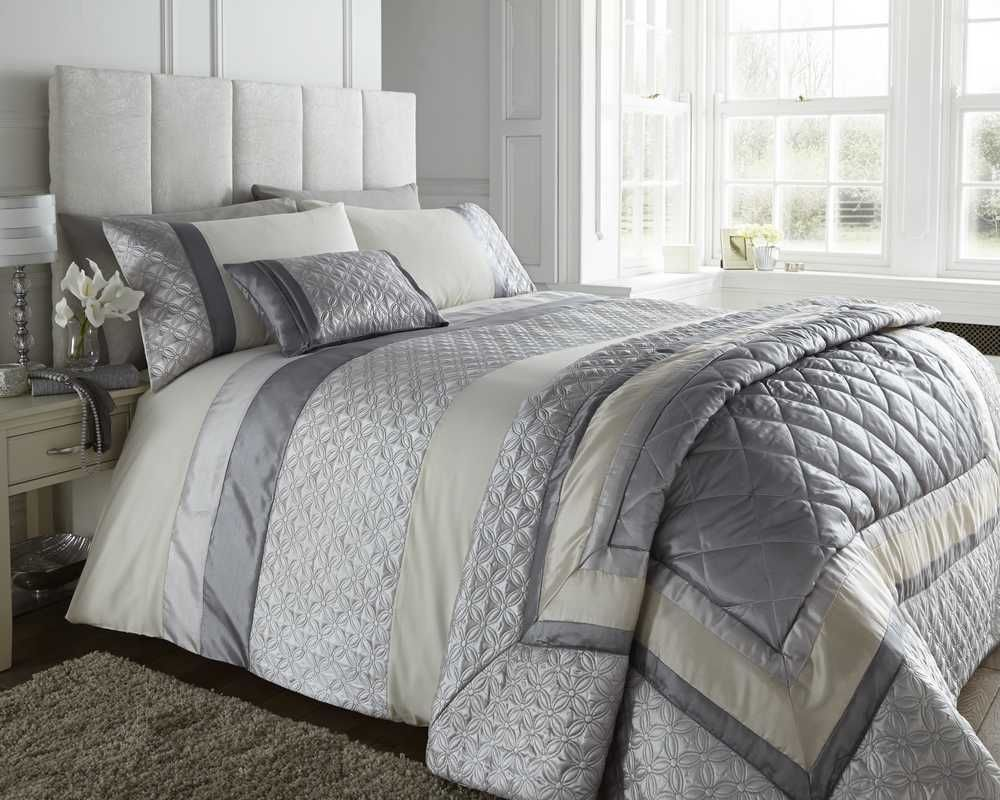 Double Bed Silver Grey Cream Duvet Cover Bedding Bed Set   Durban Photo Gallery
