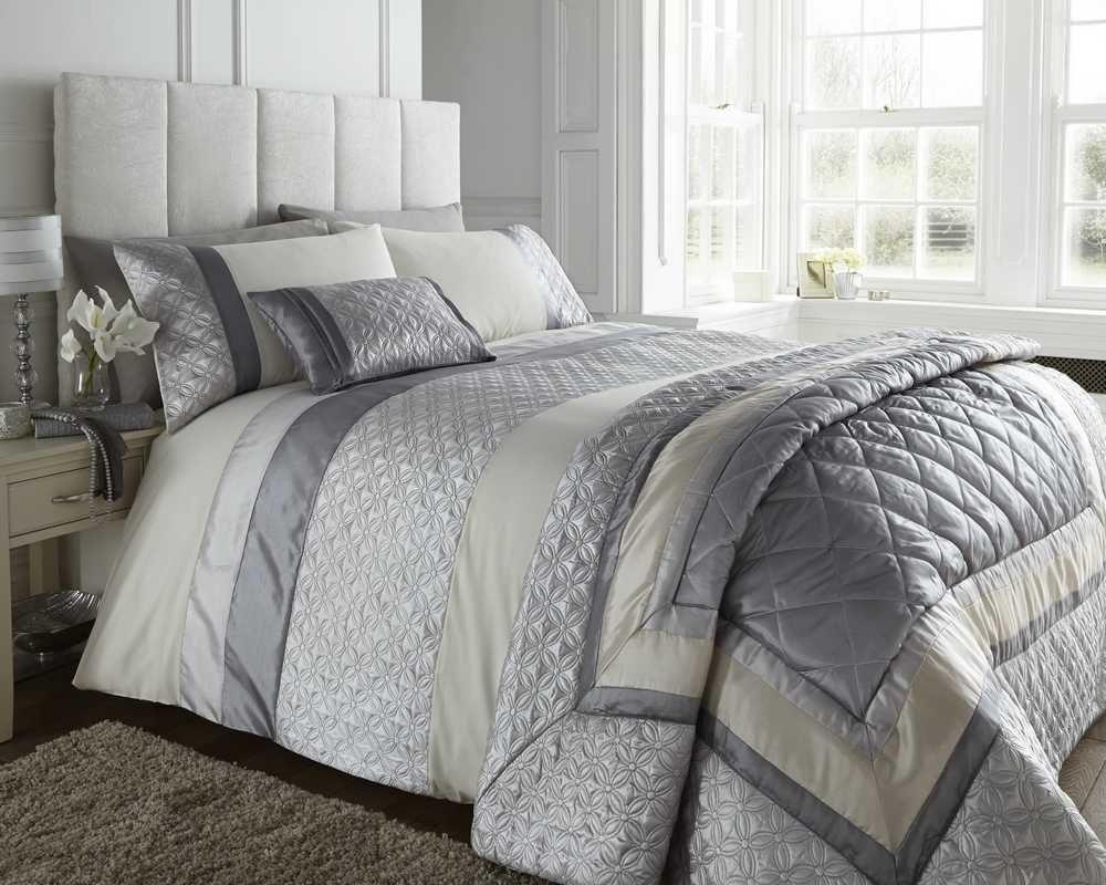 double bed silver grey cream duvet