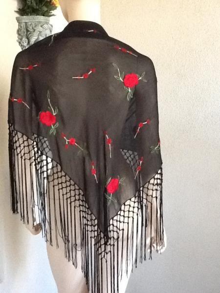 Scarf Shawl Black Sheer by Elaine Gold  Ekatherine1 on Zibbet $19.99