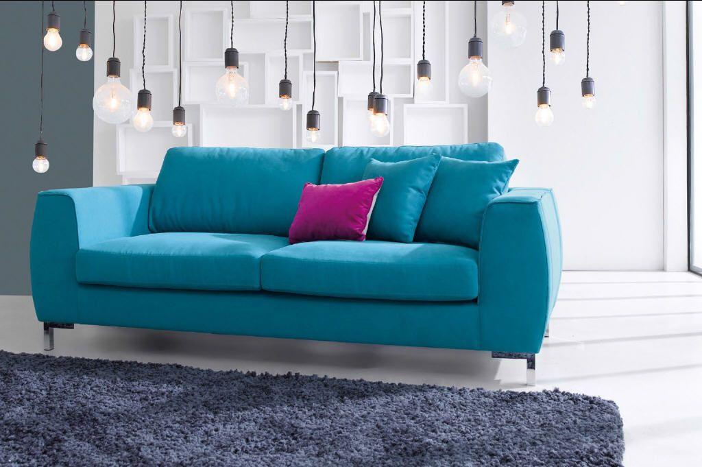 Canapé fixe 3 places EDDIE coloris bleu canard Conforama 399 ...