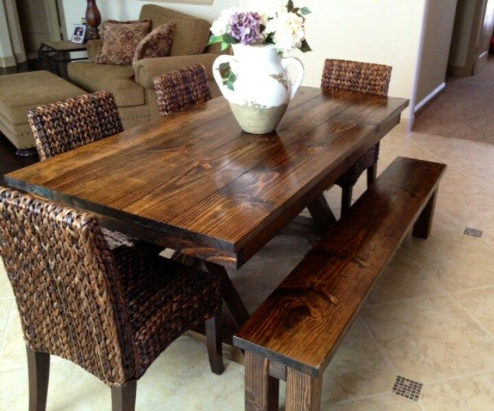 James+James 6 Foot Trestle Table With Apron Stained In Dark Walnut.  Pictured With