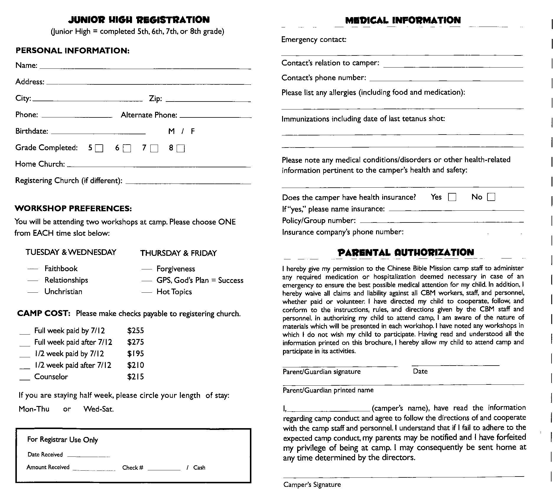 Youth Trip Registration Form Template - Invitation Templates ...