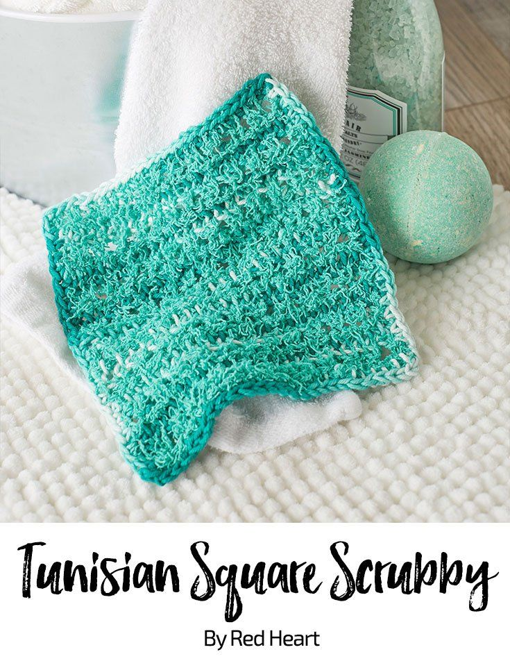 Tunisian Square Scrubby free crochet pattern in Scrubby Cotton and ...
